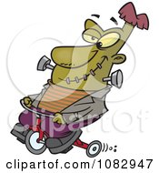 Clipart Frankenstein On A Trike Royalty Free Vector Illustration by toonaday