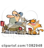Clipart Man Dog And Ginger Cat Begging For Money Royalty Free Vector Illustration