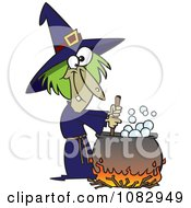 Clipart Warted Green Witch Stirring Her Potion Royalty Free Vector Illustration
