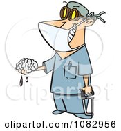 Clipart Surgeon Holding A Saw And Brain Royalty Free Vector Illustration