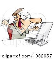 Clipart Happy Man Celebrating At His Computer Desk Royalty Free Vector Illustration