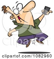 Clipart Excited Man Jumping With His New Cell Phone Royalty Free Vector Illustration