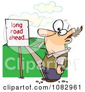 Clipart Man Facing A Long Road Ahead Sign And A Hilly Path Royalty Free Vector Illustration
