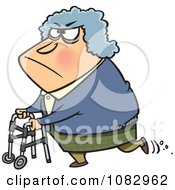 Grouchy Granny Using Her Walker