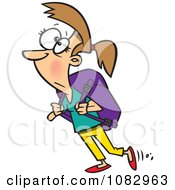 Clipart Woman Carrying A Heavy Backpack Royalty Free Vector Illustration