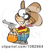 Clipart Cowboy Halloween Trick Or Treater Holding His Gun Out Royalty Free Vector Illustration