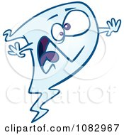 Clipart Screaming Blue Ghost Royalty Free Vector Illustration by toonaday
