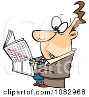 Clipart Businessman Reading The Stock Market News Royalty Free Vector Illustration by toonaday