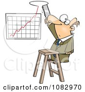 Clipart Businessman Sawing A Hole In The Ceiling For His Profit Chart Royalty Free Vector Illustration by toonaday