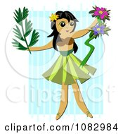 Clipart Hula Girl Holding Flowers And A Branch Over Stripes Royalty Free Vector Illustration by bpearth