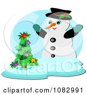 Happy Snowman With A Tiny Christmas Tree