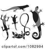 Clipart Black Lizard Silhouettes Royalty Free Vector Illustration by Any Vector