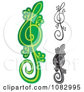 Clipart Green And Black Lizard Treble Clef Notes Royalty Free Vector Illustration