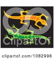 Orange And Green Lizards On Black