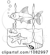 Clipart Black And White Fish Starfish And Shell Royalty Free Vector Illustration by Any Vector