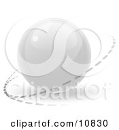 Clipart Illustration Of A White 3D Orb Sphere With A Ring Around It Internet Button