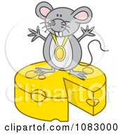 Clipart Gray Mouse With A Medal On Top Of Cheese Royalty Free Vector Illustration by Any Vector