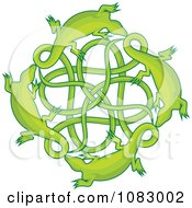Clipart Green Lizards Around A Celtic Knot Royalty Free Vector Illustration