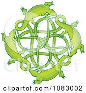 Green Lizards Around A Celtic Knot