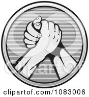 Clipart Grayscale Arm Wrestlers Royalty Free Vector Illustration