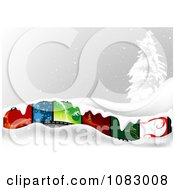 Clipart Christmas Film Strip With Snow And A Flocked Tree Royalty Free Vector Illustration by dero