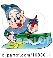 Clipart Wizard Painting A Landscape Royalty Free Vector Illustration by dero
