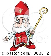Clipart Saint Nicholas Holding A Staff Royalty Free Vector Illustration by dero
