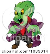 Clipart Green Vampire With A Purple Cape And Large Ring Royalty Free Vector Illustration by dero