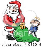 Clipart Little Innocent Boy Waiting For Santa To Give Him A Gift Royalty Free Vector Illustration