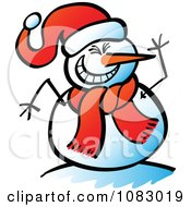 Clipart Expressive Snowman Laughing And Waving Royalty Free Vector Illustration by Zooco