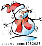 Clipart Expressive Snowman Shivering Royalty Free Vector Illustration