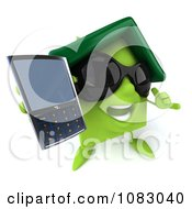 Clipart 3d Green Clay Home Holding A Cell Phone 4 Royalty Free CGI Illustration
