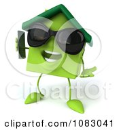 Clipart 3d Green Clay Home Holding A Cell Phone 5 Royalty Free CGI Illustration