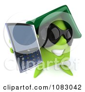 Clipart 3d Green Clay Home Holding A Cell Phone 3 Royalty Free CGI Illustration