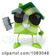 Clipart 3d Green Clay Home Holding A Cell Phone 1 Royalty Free CGI Illustration