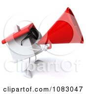 Clipart 3d White Clay Home Using A Megaphone Royalty Free CGI Illustration