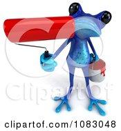 Clipart 3d Blue Springer Frog Painter Holding Up A Roller Brush Royalty Free CGI Illustration by Julos
