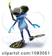 Clipart 3d Blue Springer Frog Wearing Scuba Gear 3 Royalty Free CGI Illustration