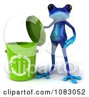 3d Blue Springer Frog Presenting A Recycle Bin