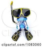 Clipart 3d Blue Springer Frog Wearing Scuba Gear 1 Royalty Free CGI Illustration