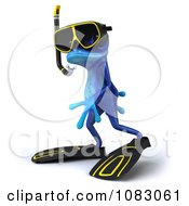 Clipart 3d Blue Springer Frog Wearing Scuba Gear 2 Royalty Free CGI Illustration