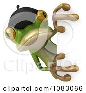 3d French Springer Frog Holding A Sign 2