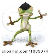 Clipart 3d French Springer Frog Dancing 2 Royalty Free CGI Illustration