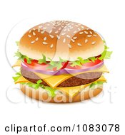 Clipart 3d Juicy Hamburger With Double Cheese Royalty Free Vector Illustration