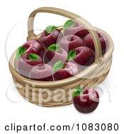 3d Basket Full Of Deep Red Apples