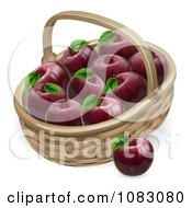 Clipart 3d Basket Full Of Deep Red Apples Royalty Free Vector Illustration by AtStockIllustration