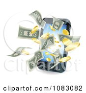 Clipart 3d Cell Phone With Money Flying Outwards Royalty Free Vector Illustration by AtStockIllustration