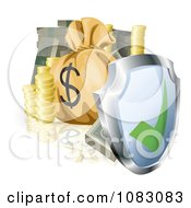 3d Security Shield With Cash Coins And A Money Bag