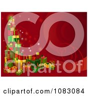 Clipart 3d Tower Of Christmas Gifts On A Red Background Royalty Free Vector Illustration