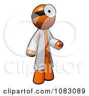 Poster, Art Print Of 3d Orange Man Doctor Wearing A Jacket And Head Mirror